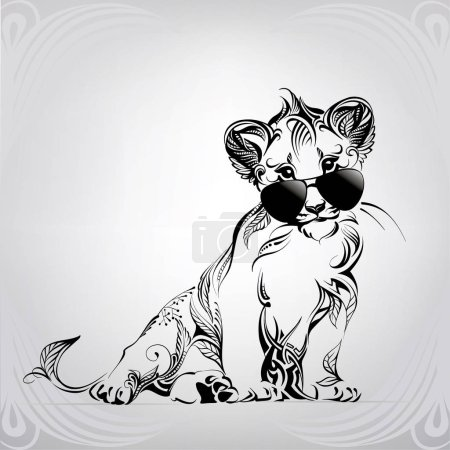 Illustration for Lion cub with glasses in ornament - Royalty Free Image