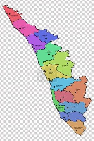 Mapa de Kerala con los 14 distritos resaltados en diferentes colores. Los nombres de los respectivos distritos se dan en malayalam e inglés .
