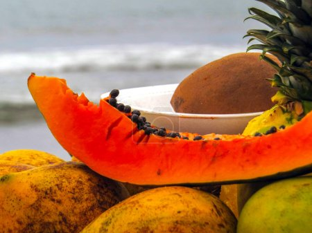 Caribbean fruits with sea in background