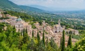 Panoramic view in Assis with San Rufino Cathedral and Santa Chiara Basilica. Umbria, Italy.