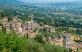 Panoramic view in Assisi with the Basilica of Santa Chiara. Umbria, Italy.