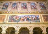 Fresco in the Basilica of Saint Lawrence in Damaso in Rome, Italy. Aprile-07-2018
