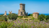 Ruins of the ancient city of Velia with the sea in the background, near Ascea, Cilento, Campania, southern Italy.