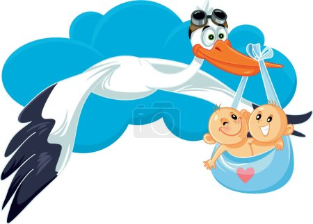 Illustration for Cartoon Stork with Twins Vector Illustration - Royalty Free Image