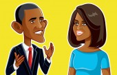 NY USA January 24 Barack and Michelle Obama Vector Caricature