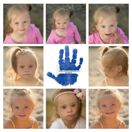a collage of photos of the girl with Down syndrome on the beach