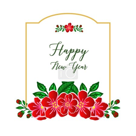 Illustration for Text of happy new year background with texture of red wreath frame. Vector illustration - Royalty Free Image