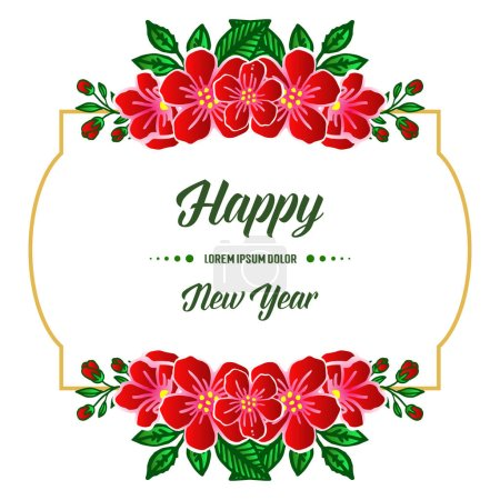 Illustration for Design of card happy new year, with artwork of red floral frame. Vector illustration - Royalty Free Image