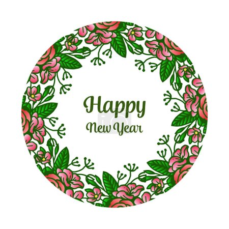 Illustration for Banner happy new year, with elegant colorful wreath frame. Vector illustration - Royalty Free Image