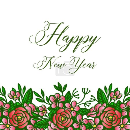 Illustration for Letter of happy new year, with decor crowd of colorful flower frame. Vector illustration - Royalty Free Image