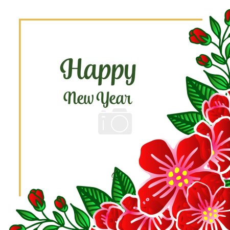 Illustration for Vintage style red wreath frame for design elegant of card happy new year. Vector illustration - Royalty Free Image