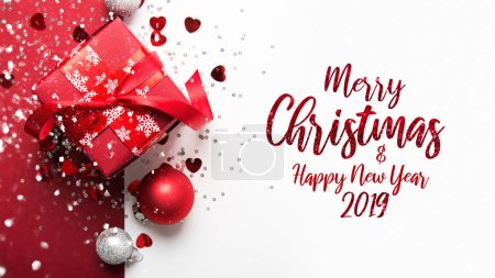 Photo pour Joyeux Noël et Joyeuses Fêtes carte de voeux, cadre, bannière. Nouvel An. Cadeau de Noël fait main. Thème des vacances d'hiver. Pose plate . - image libre de droit
