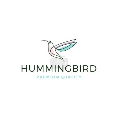 Illustration for Hummingbird colibri bird logo line outline monoline vector icon illustration - Royalty Free Image