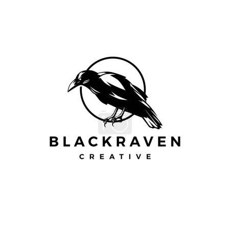 Illustration pour Corbeau noir corbeau logo vecteur icône illustration - image libre de droit