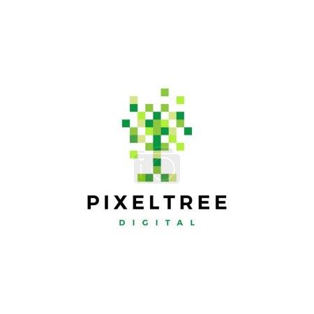 Illustration for Pixel tree digital logo vector icon illustration - Royalty Free Image