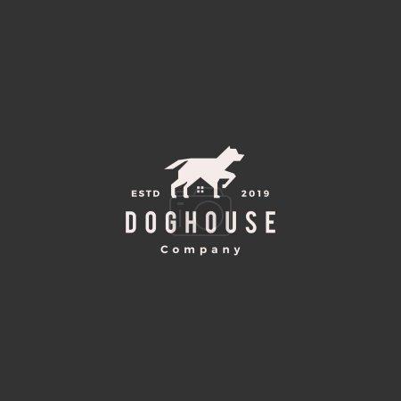 Illustration for Dog house pet home logo hipster retro vintage vector icon illustration - Royalty Free Image