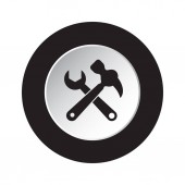 round isolated black and white button icon - claw hammer with spanner