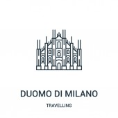duomo di milano icon vector from travelling collection Thin line duomo di milano outline icon vector illustration Linear symbol