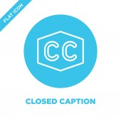 closed caption icon vector from accessibility collection Thin line closed caption outline icon vector  illustration Linear symbol for use on web and mobile apps logo print media