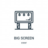 big screen icon vector from event collection Thin line big screen outline icon vector illustration