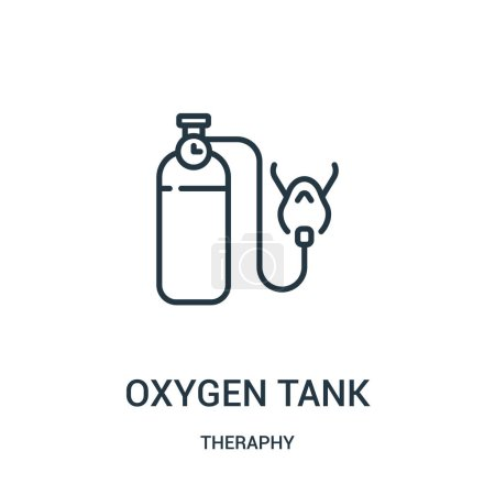 Oxygen tank icon vector from theraphy collection. Thin line oxygen tank outline icon vector illustration. Linear symbol for use on web and mobile apps, logo, print media.
