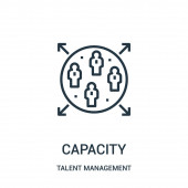 capacity icon vector from talent management collection Thin line capacity outline icon vector illustration