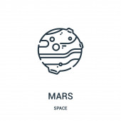 mars icon vector from space collection Thin line mars outline icon vector illustration