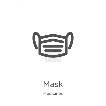 Mask icon. Element of medicines collection for mobile concept and web apps icon. Outline, thin line mask icon for website design and mobile, app development