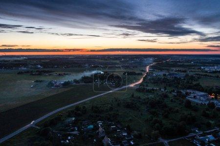 Foto de City landscape with modern buildings. Aerial footage. - Imagen libre de derechos