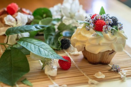 Photo for Sweet cake with flowers on table - Royalty Free Image