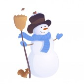 Vector illustration of a greeting snowman with a squirrel and birds isolated on a white background