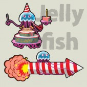 character funny jellyfish celebrates his Birthday and flies to the fireworks vector image