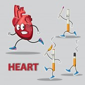 character heart runs after him chasing cigarettes with matches in his hands Vector image