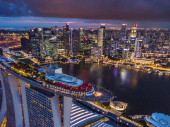 Views of Marina Bay and center Singapore from above