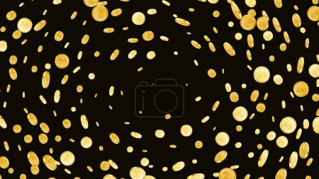 Illustration for Rotating dollar coins background. Casino jackpot or win concept. Cash fly on black isolated background. Golden money falling. Gambling game jackpot. Vector illustration - Royalty Free Image
