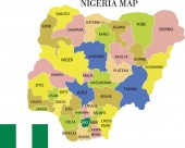 Vector illustration of map of Nigeria