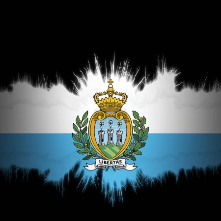 Photo for San Marino  flag with ripped edges, digital illustration - Royalty Free Image