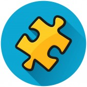 Illustration of jigsaw puzzle circle blue icon
