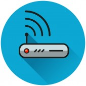 Illustration of router circle blue icon concept
