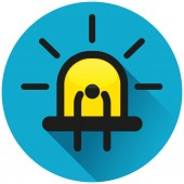 Illustration of diode circle blue flat icon