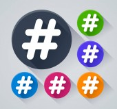 Illustration of hashtag circle icons with shadow