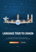 Language trip tour travel to Canada Learning Languages Vector illustration with hand-draw doodle elements on the background