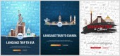 Language trip tour travel to USA Canada Mexico Learning Languages Vector illustration with hand-draw doodle elements on the background