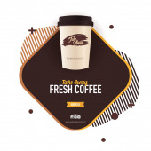 Take Away Coffee ads with cup Fresh Espresso Top view