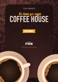 Coffee ads with cup and hand draw doodle background