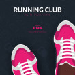 Running Club, City Marathon banner with sneakers...