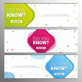 Did you know labels Set of Banners or sticker with Interesting fact
