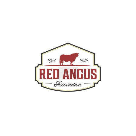 Illustration pour Vintage rouge angus logo design inspirations - image libre de droit