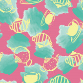 watercolor teapot seamless pattern design