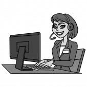Customer Service Illustration - A cartoon illustration of a Customer Service concept